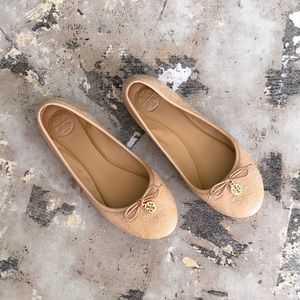 Tory Burch Tan Embroidered Gold Charm Bow Flats